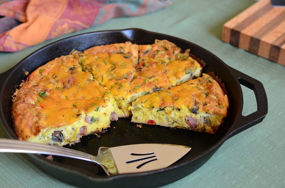 Frittata with Ham and Roasted Vegetables - ButterYum. frittata recipe. how to make a crustless quiche. how to make a quiche without a crust. how to make an Italian frittata. Italian frittata recipe. easy baked egg recipe.