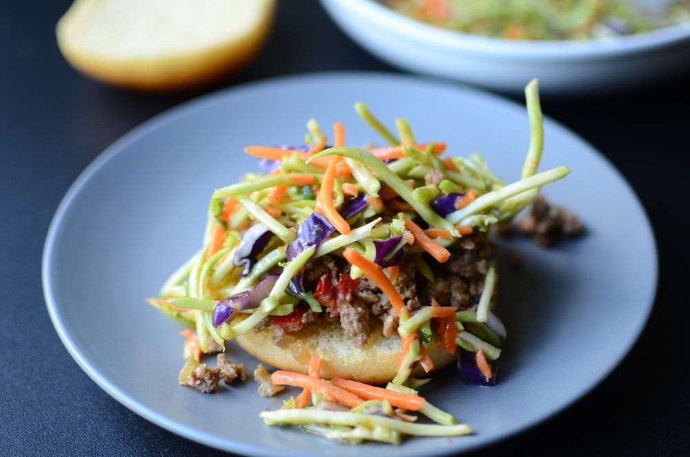 an asian-inspired sloppy joe sandwich with broccoli slaw - recipe with how to photos inluded