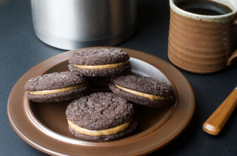 Chocolate Sandwich Cookies Filled w/Salted Caramel Russian Buttercream - ButterYum —