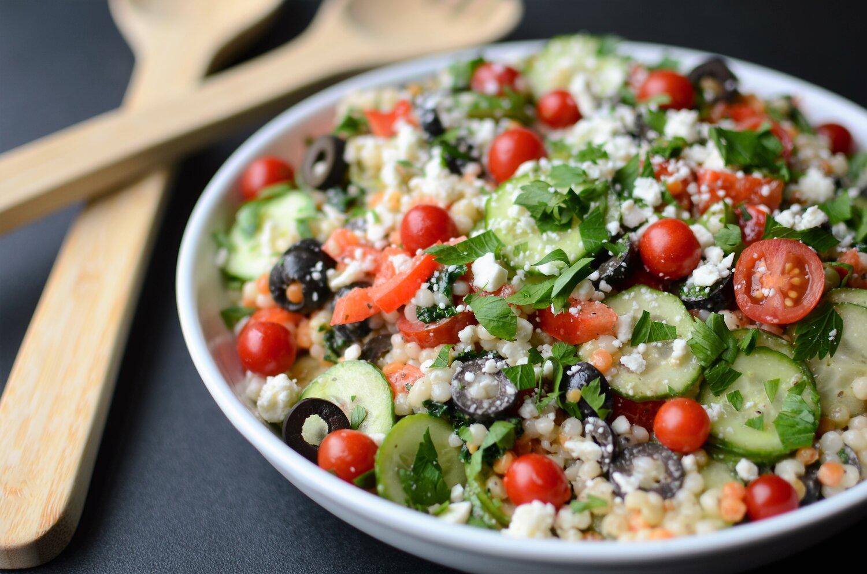 Greek Pearl Couscous Salad Butteryum A Tasty Little Food Blog