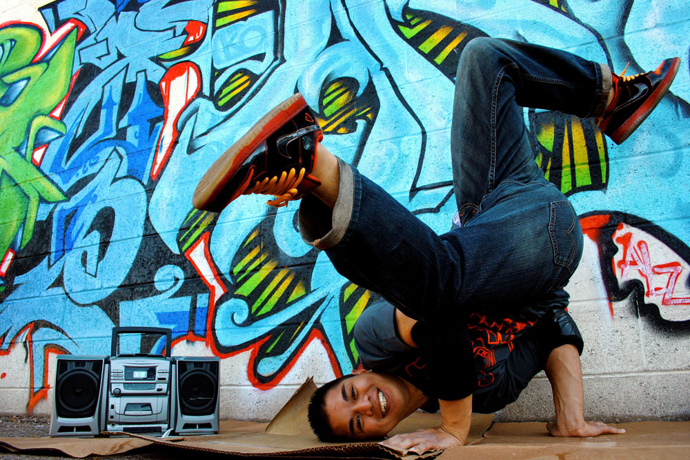 Daryl Delos Reyes shows off his favorite pastime, breakdancing, for a portrait in downtown Tucson, Ariz., on Saturday, Jan. 24, 2009.