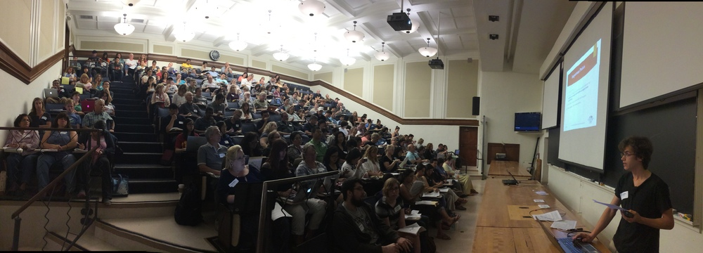 Teachers and others learn about 2016 Science Olympiad events and rules changes in the same lecture hall where Nobel laureates have delivered their lectures.