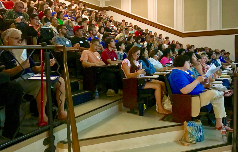 TEACHERS AND OTHERS LEARN ABOUT 2018 SCIENCE OLYMPIAD EVENTS AND RULES CHANGES IN THE SAME LECTURE HALL WHERE NOBEL LAUREATES HAVE DELIVERED THEIR LECTURES.