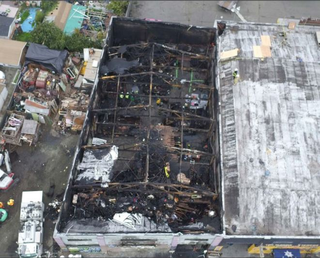 Aerial image taken by the Oakland Fire Department of the Ghostship Warehouse.