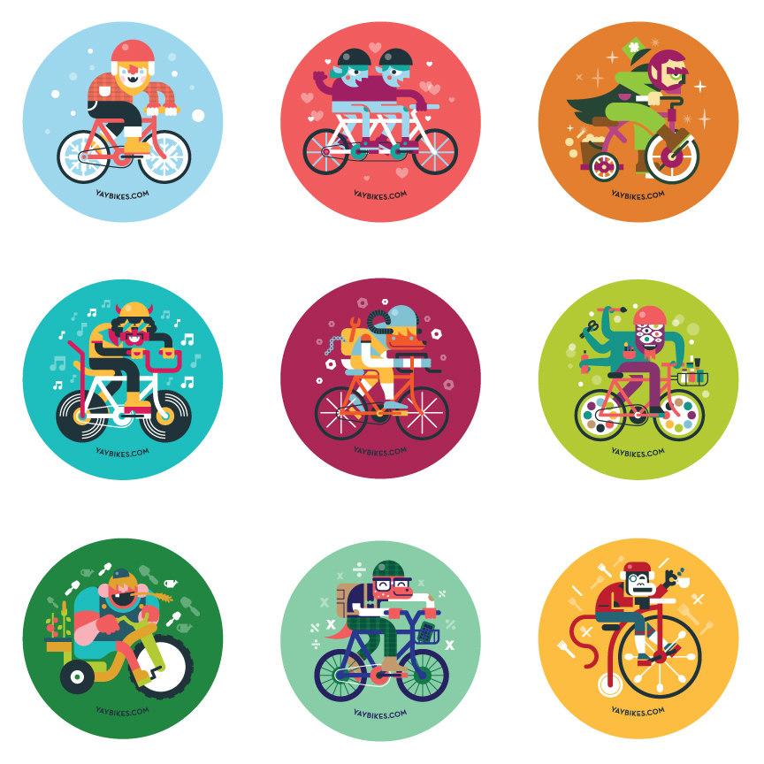 9/12 of the illustrations I am doing for  Yay Bikes ! These little guys are going on buttons to give out for each month's themed bike ride.