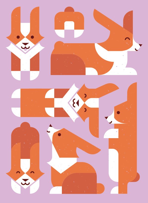 Corgi illustration celebrating all the wonderful poses Odin has.   Created for an anniversary card for Katie. Might become a print sometime soon!