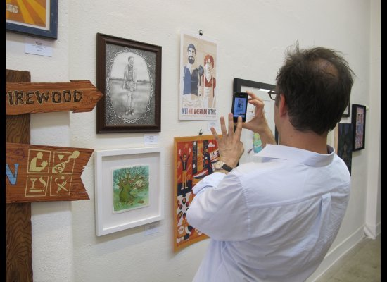 Wet Hot American Summer director David Wain photographs some of the artwork at Gallery 1988. You can see my orange print!   See the rest at  http://nineteeneightyeight.com/index.php/sf/cfwhasprint.html?limit=all