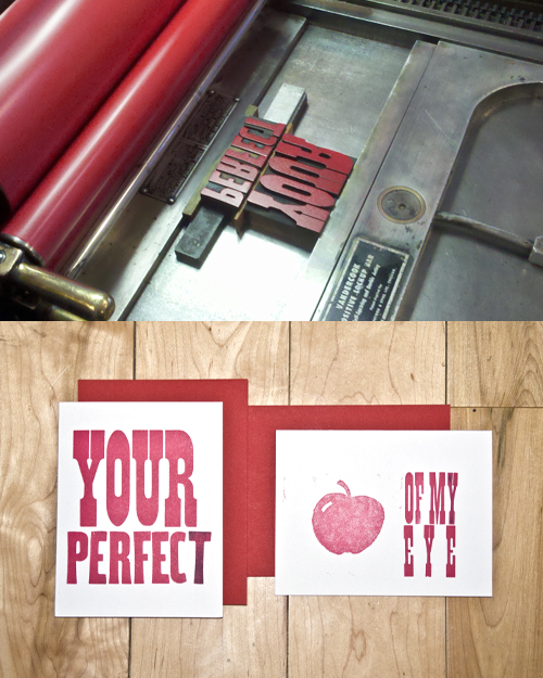 * BANDITO FIELD TRIP * Letterpress v-day cards with the GF! thanks to www.iglooletterpress.com