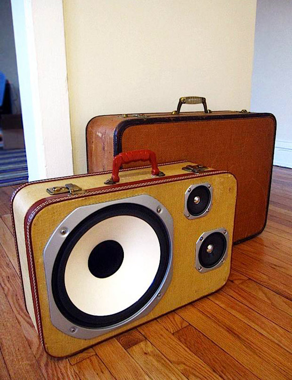 ohryankelley: The BoomCase The Self Powered, Portable Suitcase Stereo system works with your iPod/ iPhone or any device with a headphone jack. This case will last 8+ hours on a single charge (Charger Built In). In addition to running on batteries, the BoomCase can also be plugged in when the party goes inside. (via: likecool)