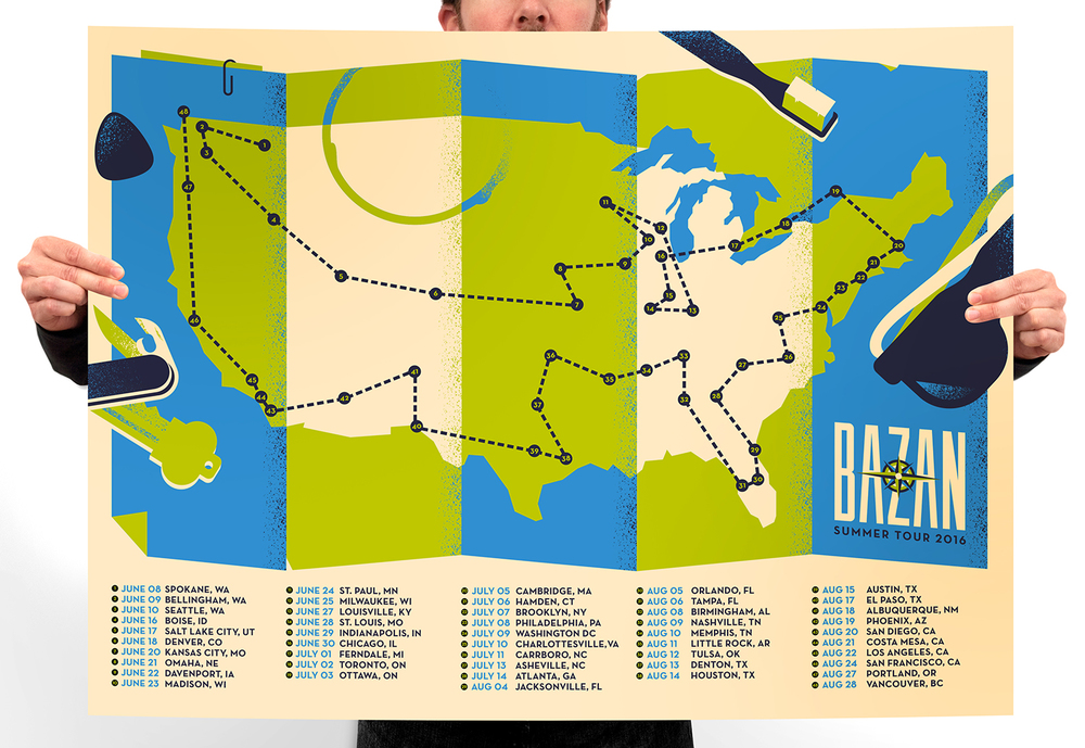 BAZAN SUMMER 2016 TOUR POSTER