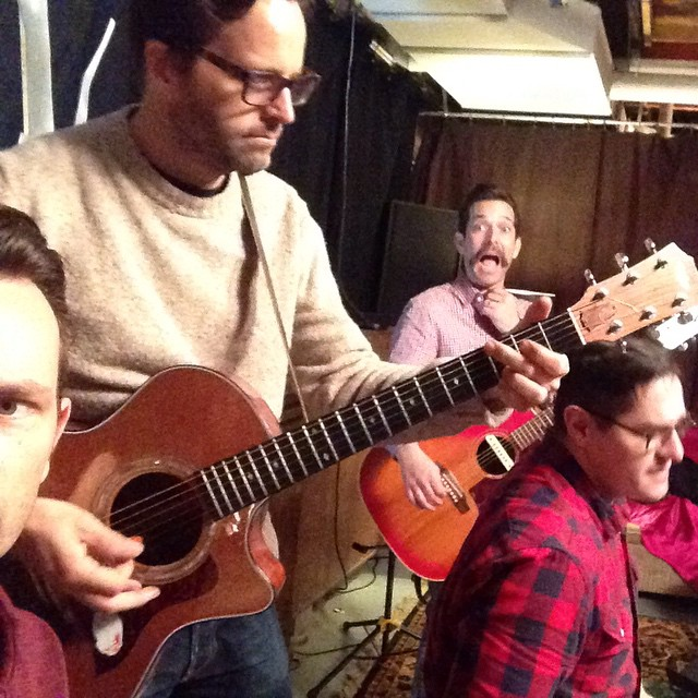 Rehearsing the Christmas songs for tonight's @stageit!  Join us!