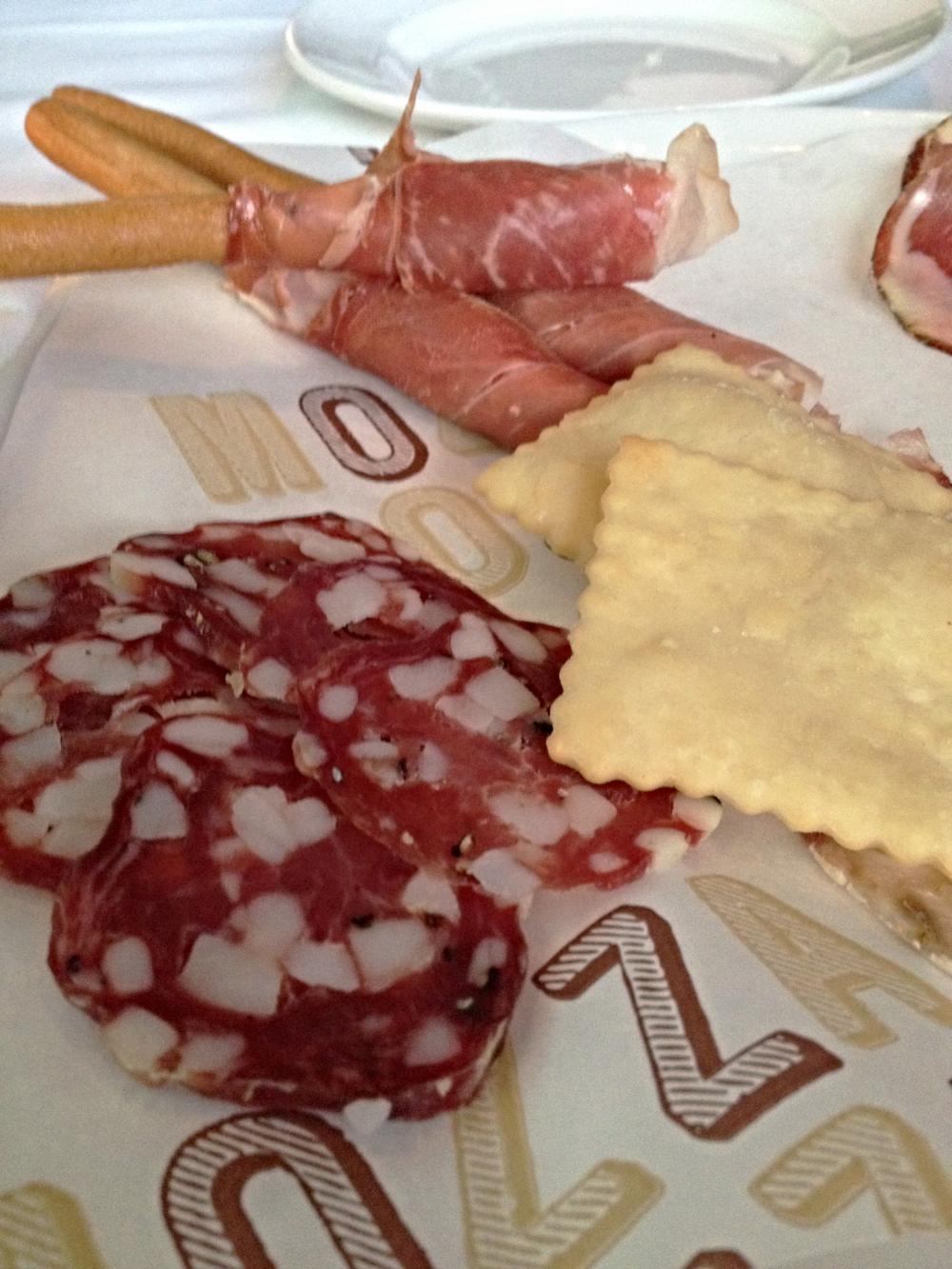 Affettati Misti  : Testa, Capicola, Finochionna Salame, Prosciutto wrapped Grissini with truffle butter