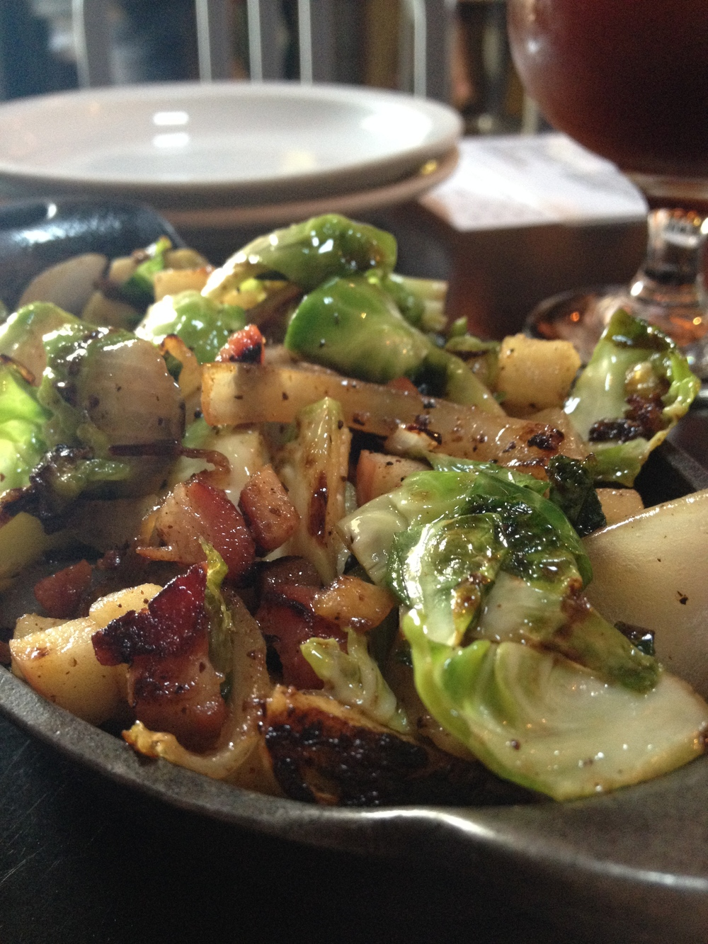 Brussels Sprouts, Apples, Onions, and Pancetta