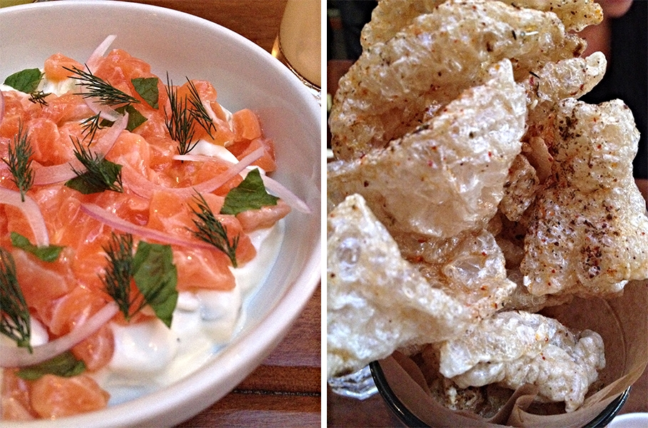 "Chips & Dip: Scottish King Salmon Tartare, Cucumber with Cucumber, Mint, and Yoghurt with Crispy Pork Rind ""chips"""