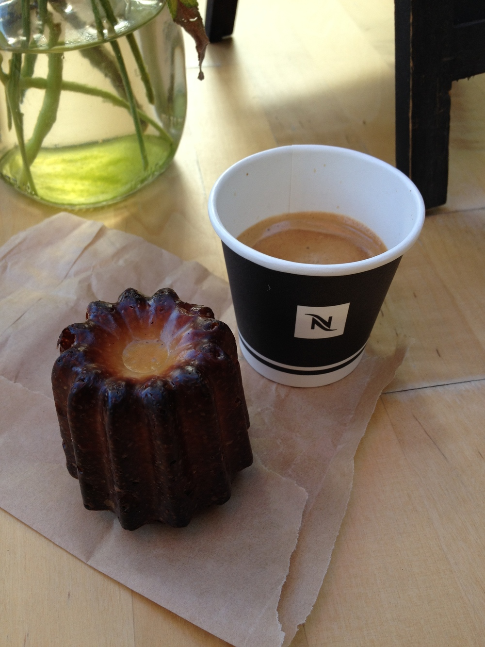 You can't beat starting your day with a shot of espresso and a fresh  canelé.