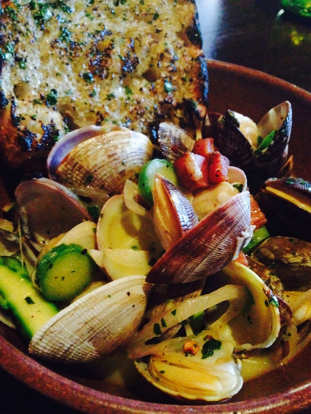 Steamed clams, garlic, white wine, chili, and bay laurel.