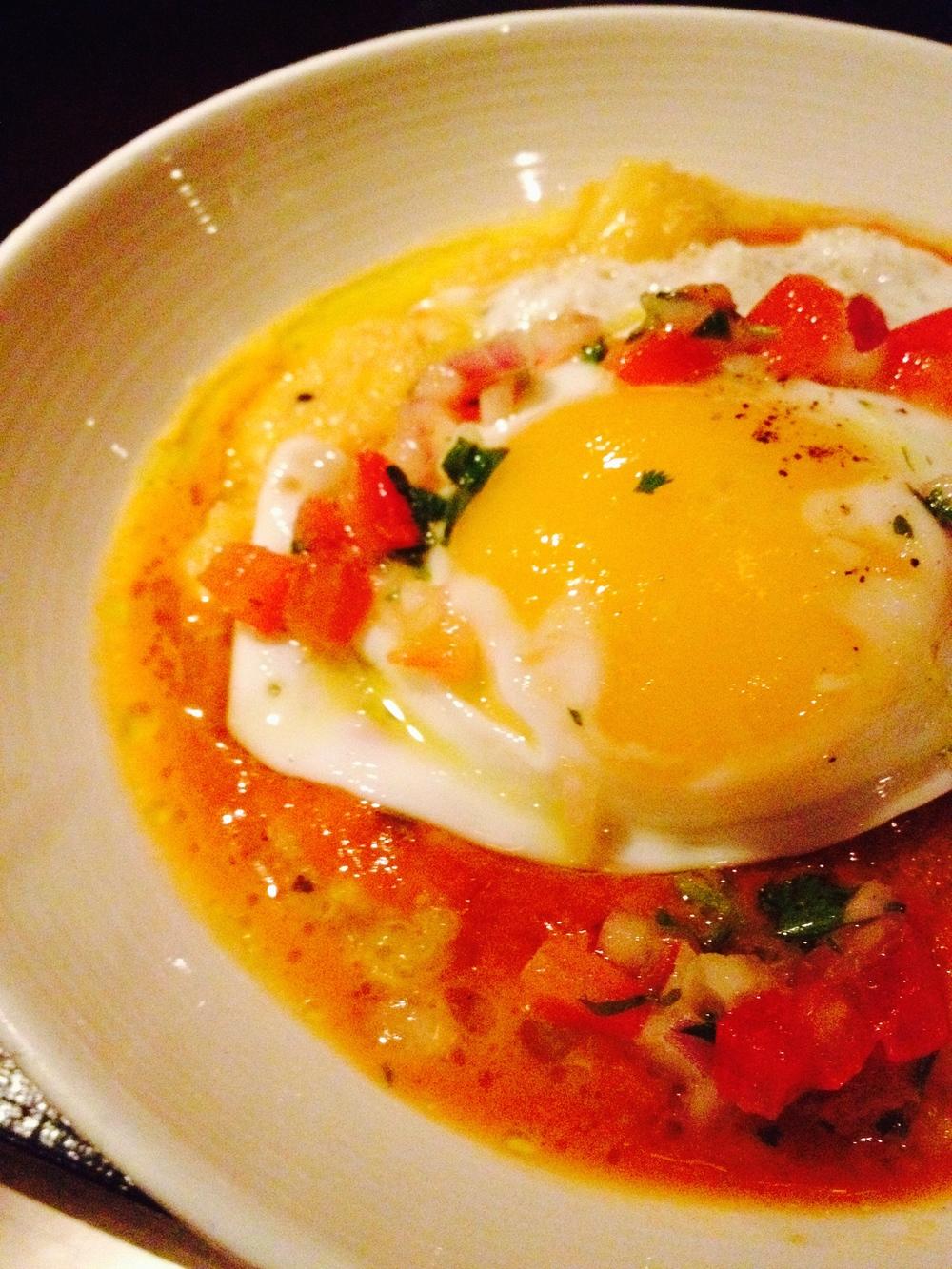 LOCRO DE QUINOA pumpkin quinoa stew, fried egg, choclo, parmesan, crispy tomato