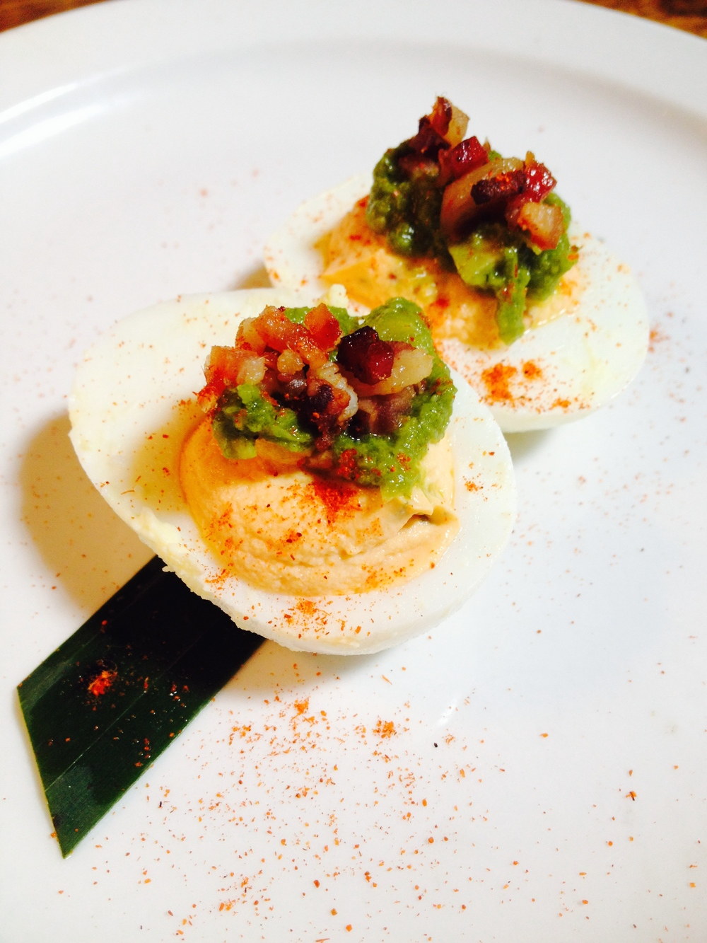 Green Eggs and Ham - spicy deviled eggs, green chile salsa, bacon bits