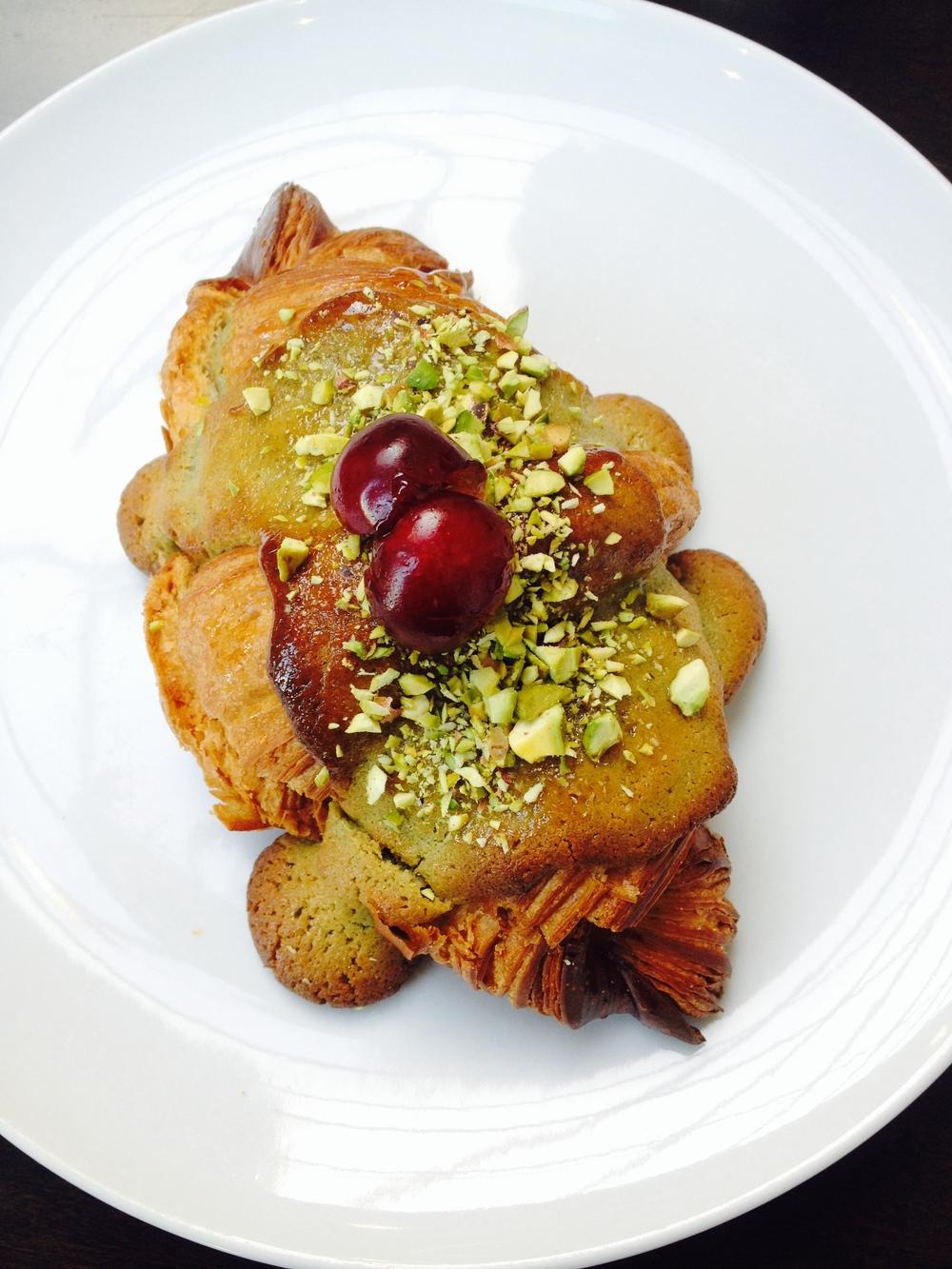 Twice-baked pistachio croissant