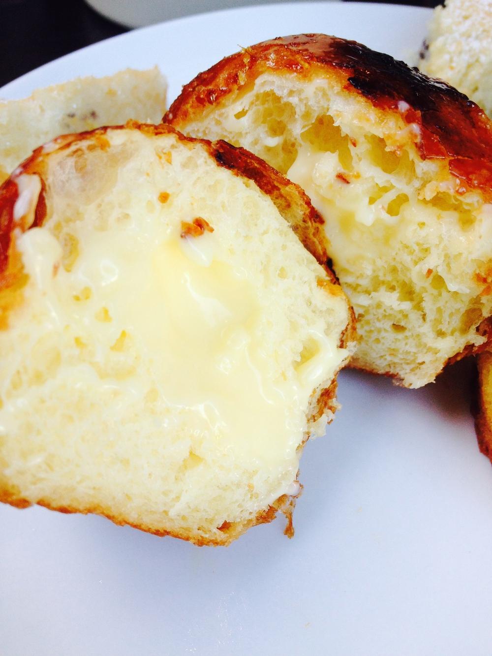 Inside view of the amazing custard-filled crème  brûlée bombolini