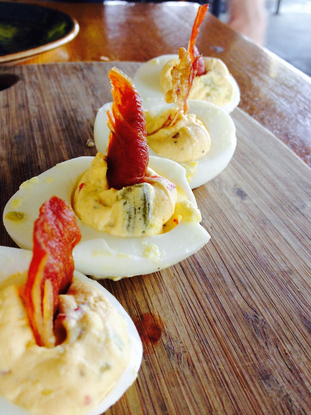 Speck & Eggs with deviled eggs and crispy proscuitto.