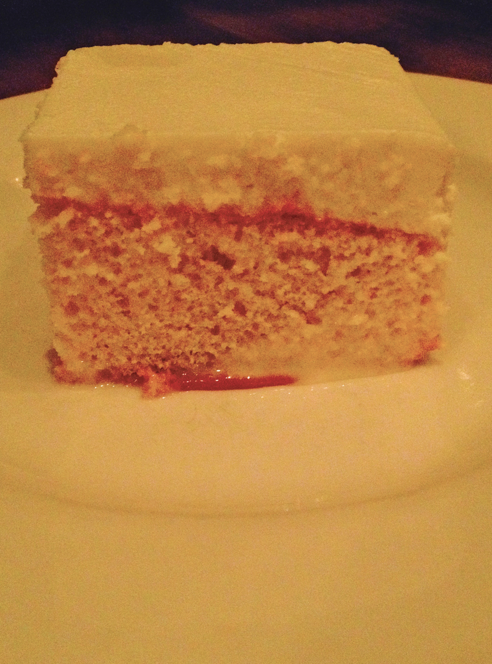 Tres leches cake with dulce de leche.