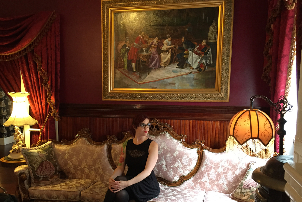 In the parlor of  The Queen Anne Hotel ( haunted, of course!).