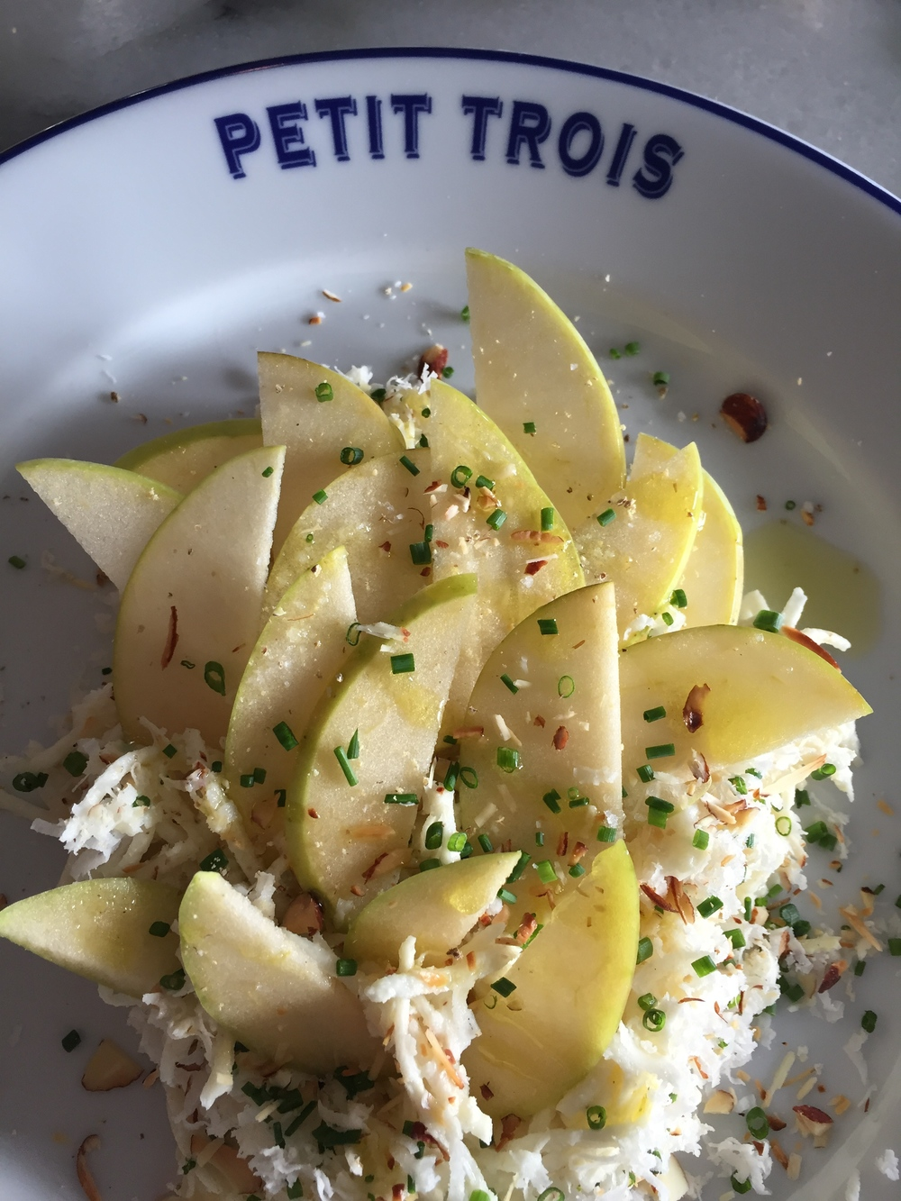 Celery Root Remoulade with almonds, apple, and freshly shaved horseradish.