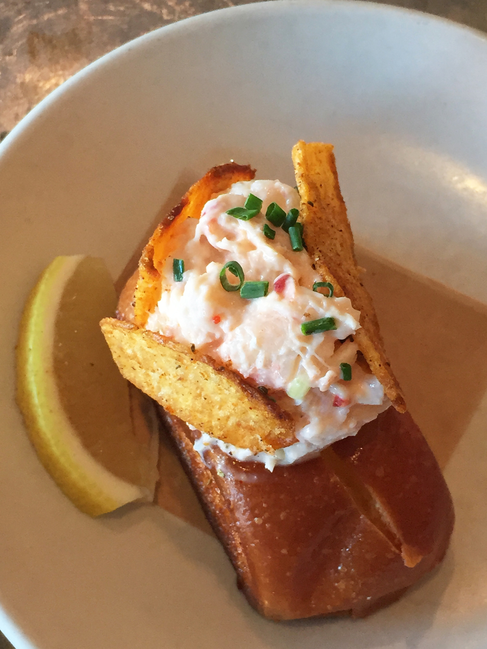 Lobster Roll with Celery and Lemon Aioli.
