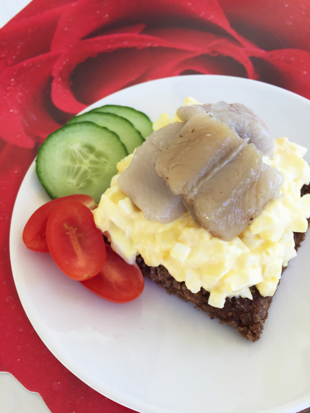 Egg Salad topped with Herring