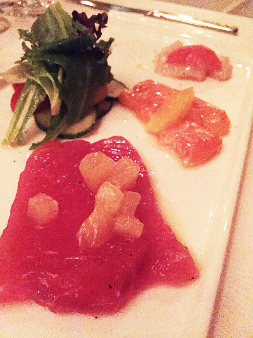 "Crudo di pesce-- ""Suchi"", with citrus and colatura brine"
