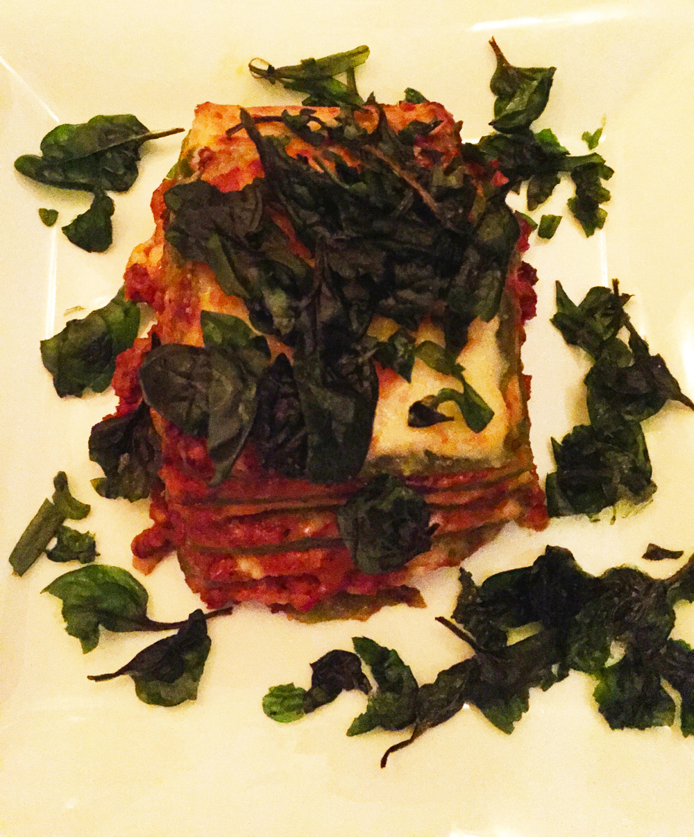 "Lasagna verde ""Omaggio Nonna Elvira,""spinach pasta, besciamella, beef & veal ragu'"