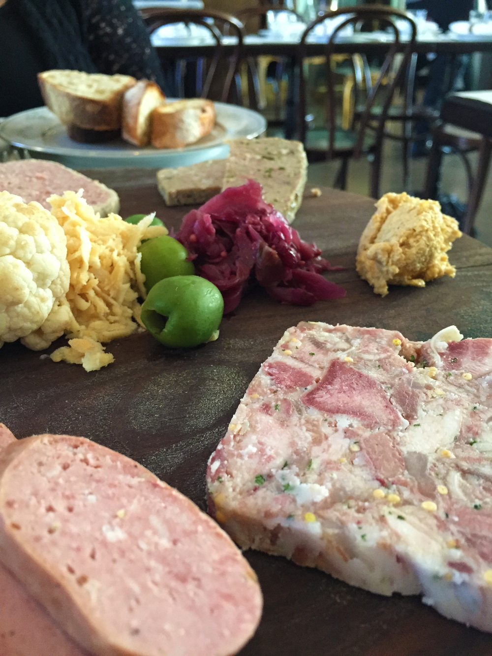 Assiette de Charcuteries (liverwurst and headcheese in the foreground)
