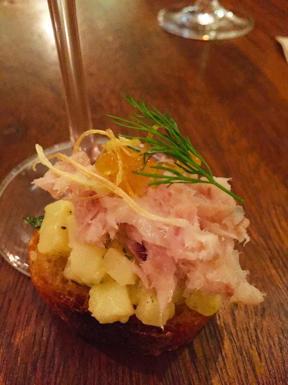 Smoked yellow tail with potato salad and dill  amuse bouche