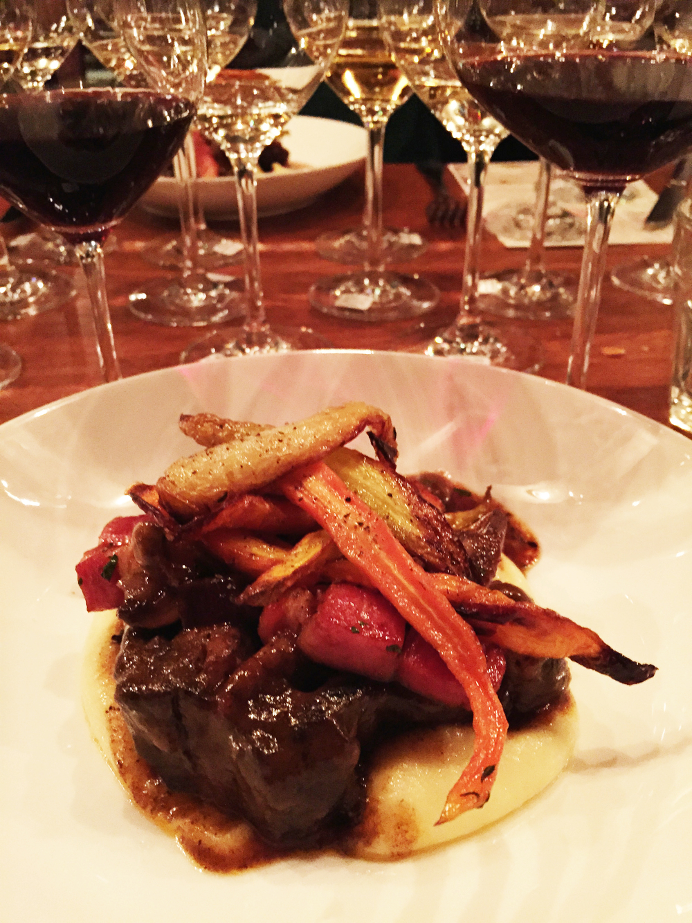 Beef Short Rib with potato mousseline and roasted vegetables.