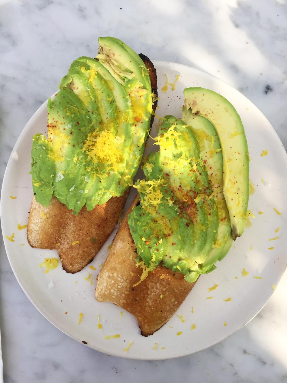 California Avocado Toast withpepperoncino, citrus, and sea salt.