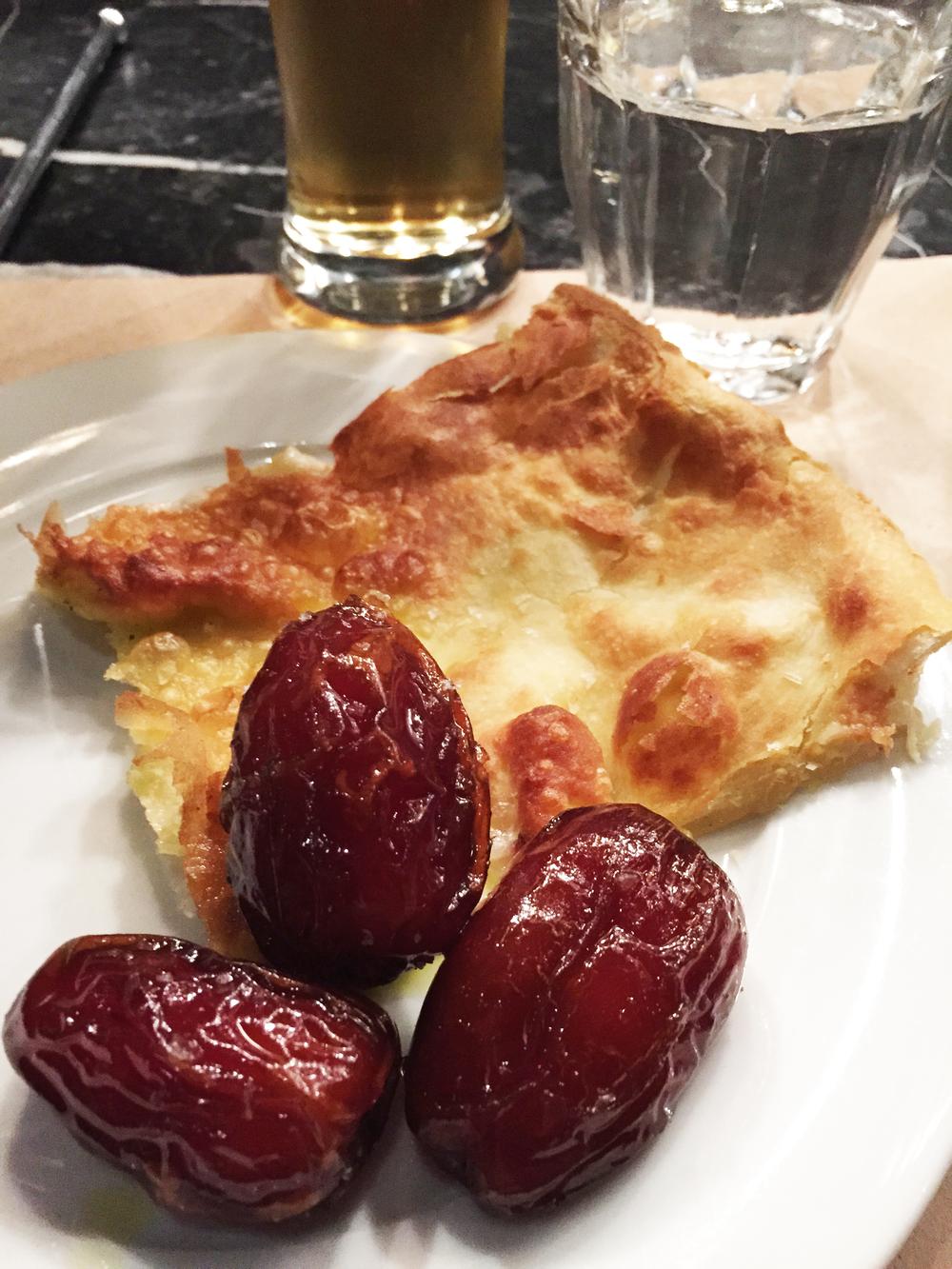 Focaccia di Recco stracchino, olive oil, and  warm salted Medjool Dates.