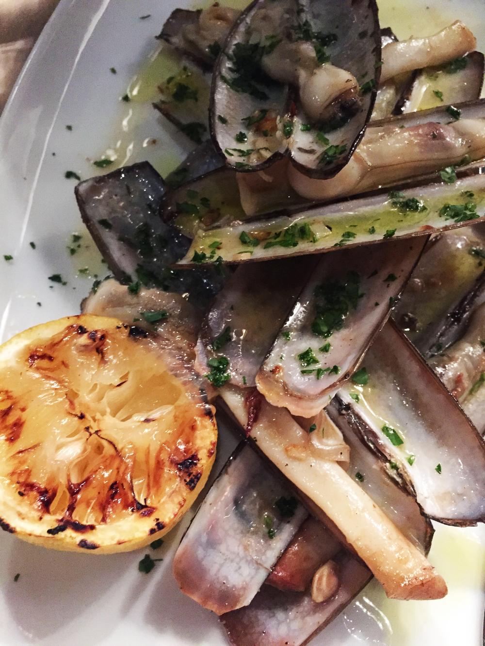 Razor Clams garlic, olive oil.
