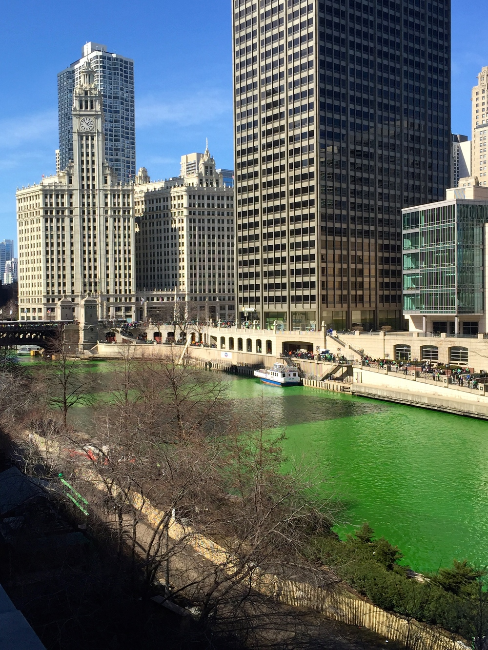 Dyeing the Chicago River green on the Saturday before St. Patrick's Day!
