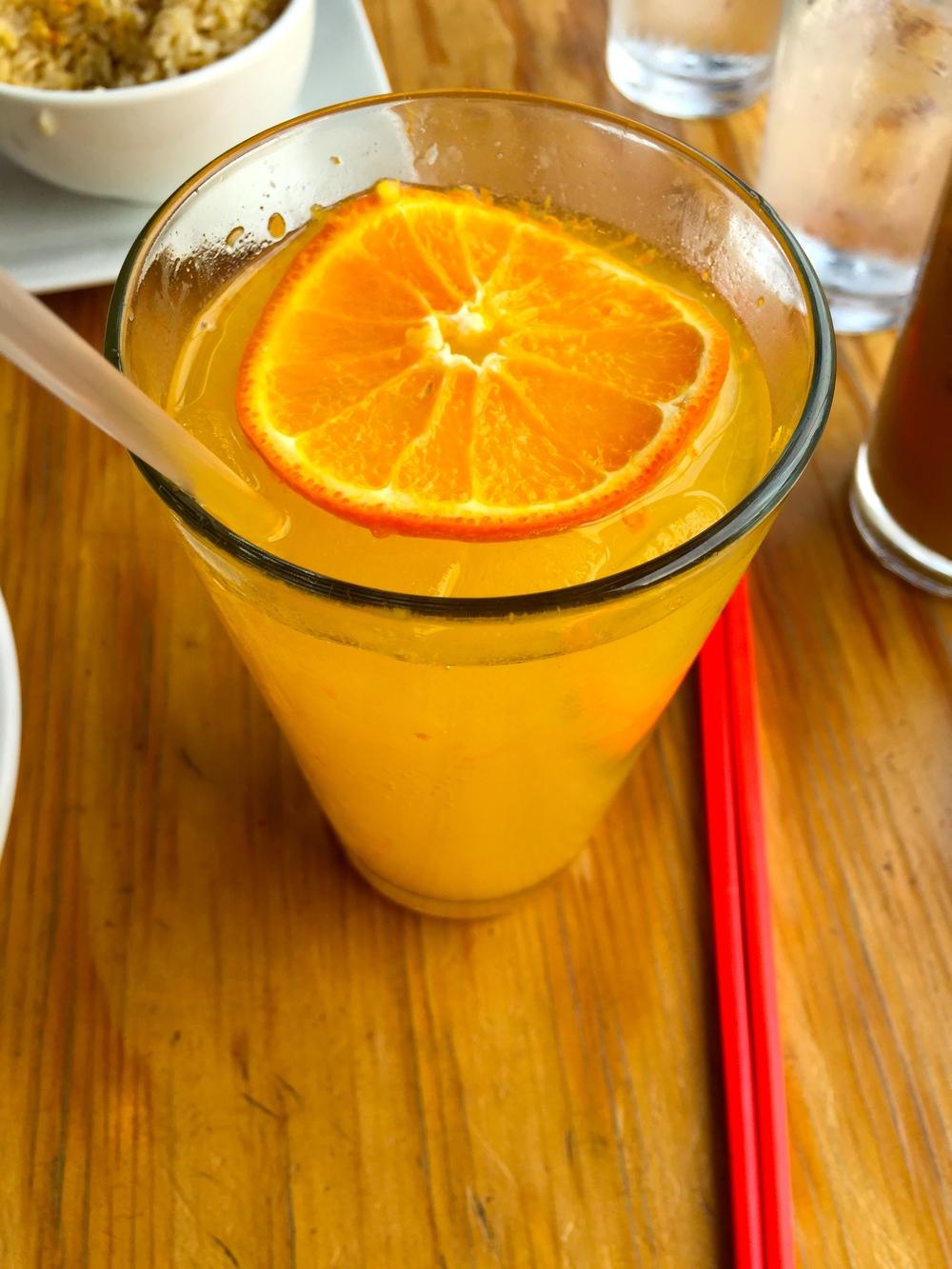Fresh-squeezed Tangelo homemade soda.