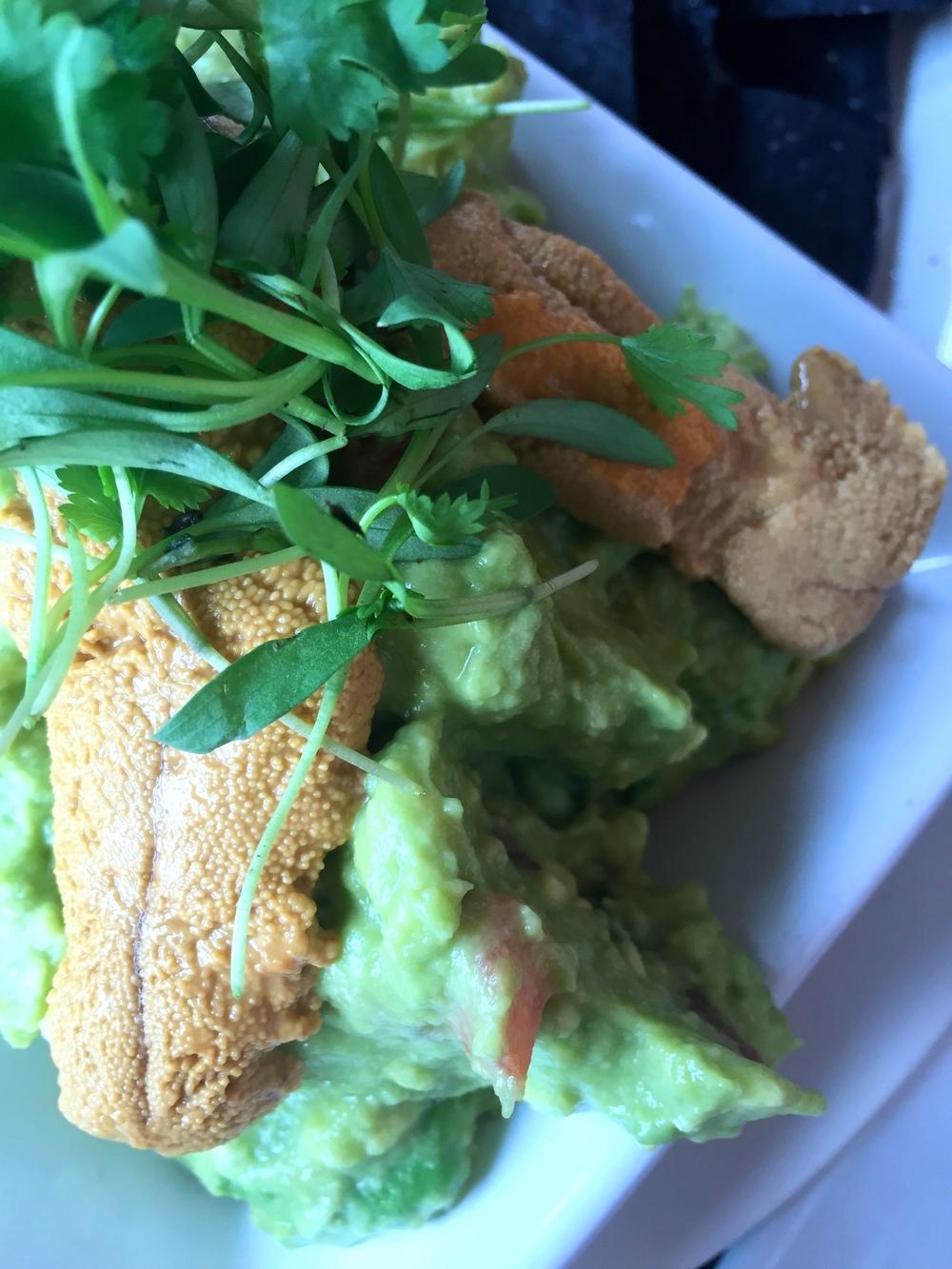 Fresh guacamole with Santa Barbara sea urchin.