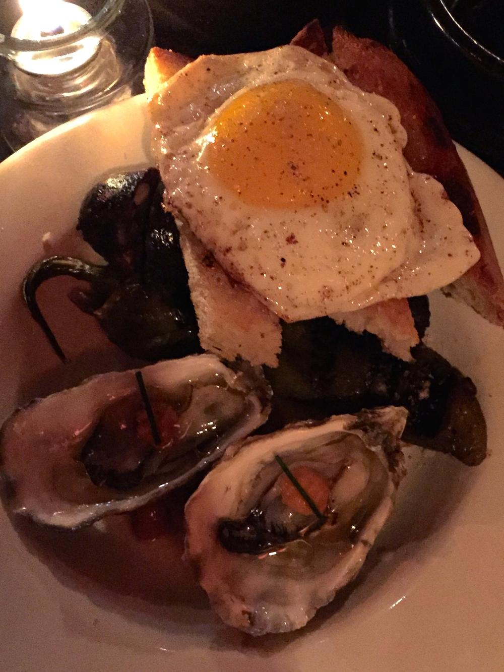 ESMORZARET DE LA SAFOR - home made blood sausage, pumpkin, pine nut, fried egg, roasted anaheim pepper, oysters