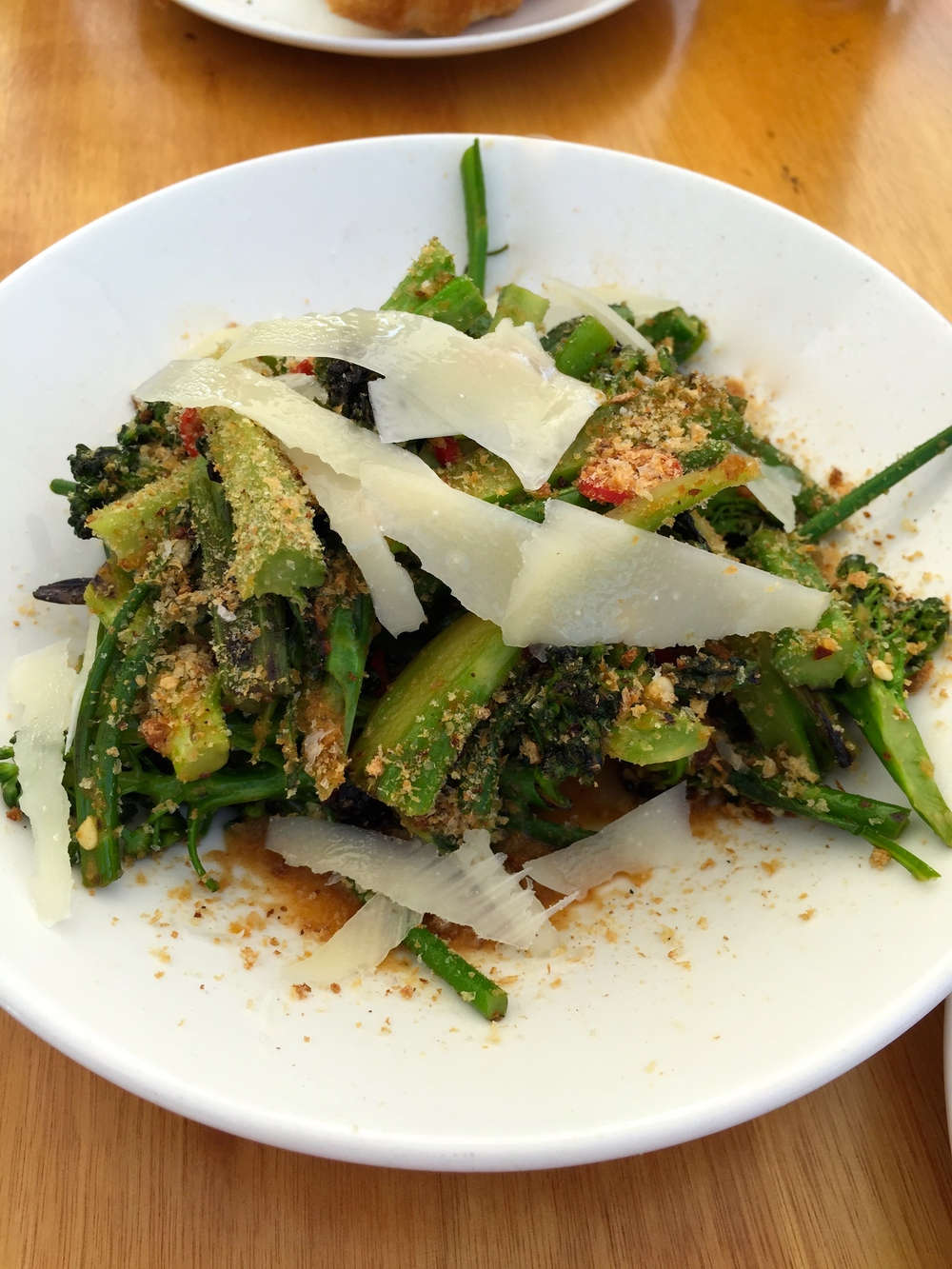 Sprouting broccoli, garlic, pickled chillis, pecorino romano, and breadcrumbs.