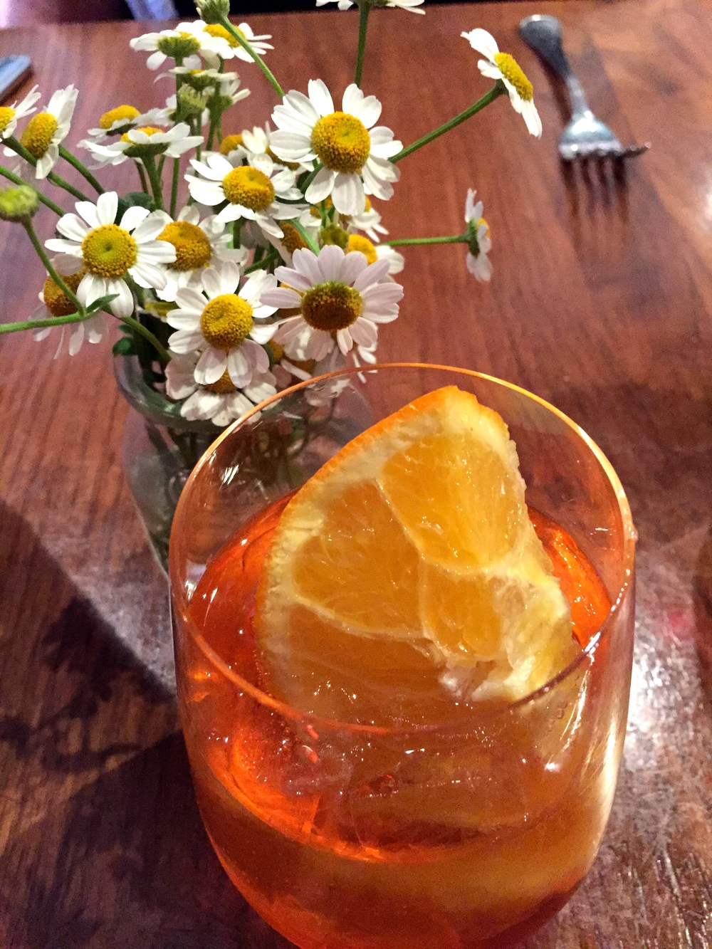 Aperol Spritz with prosecco and aperol.