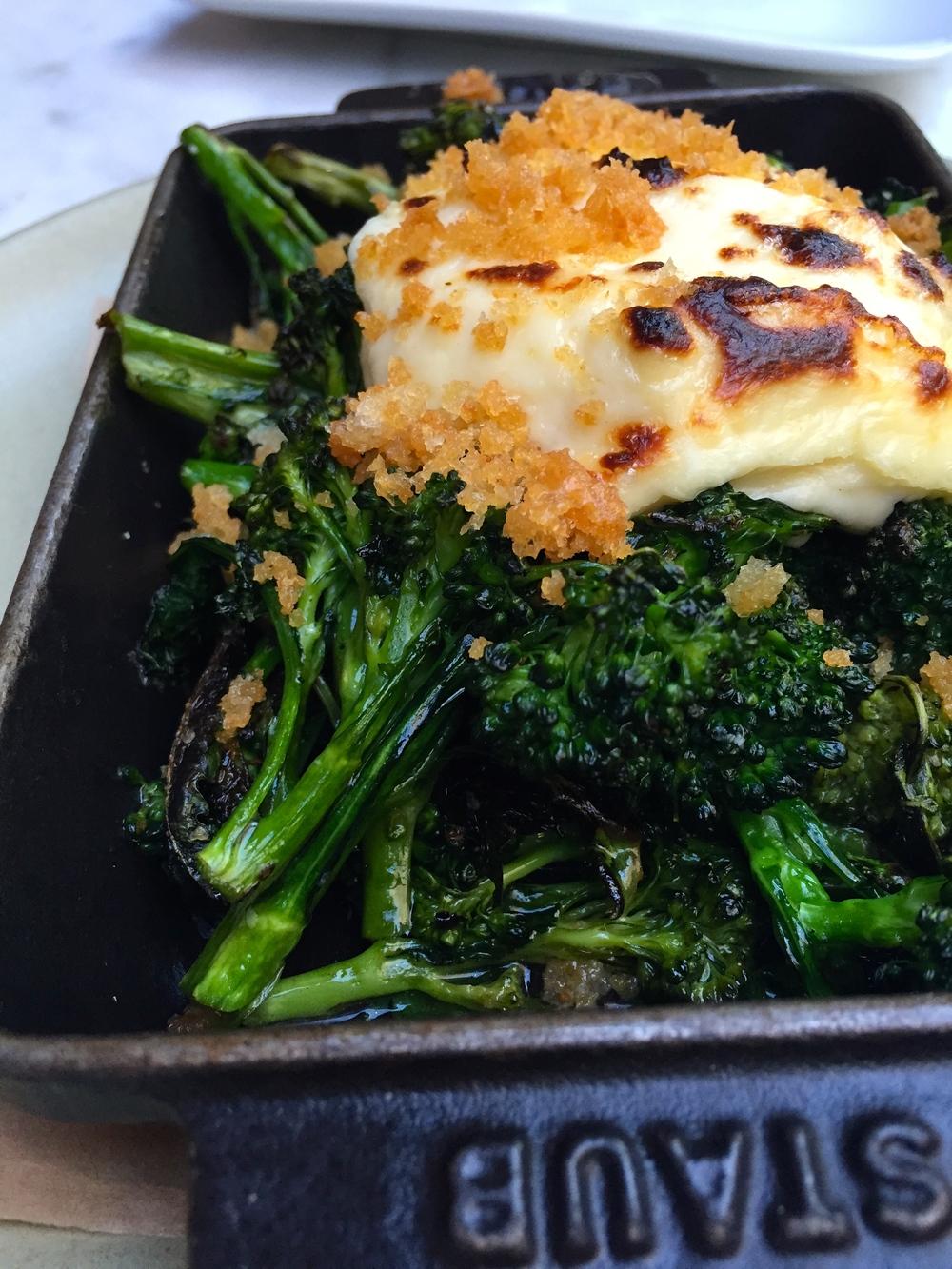 Baby broccoli parmesan pudding breadcrumb chili flake.