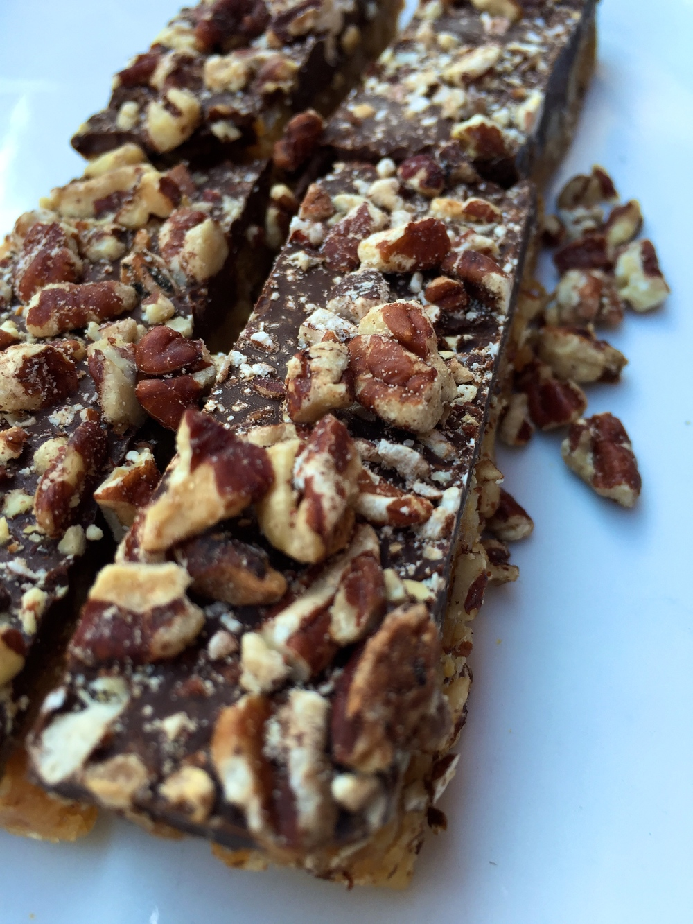 Ritz Crack Candy Bar with chocolate and pecans.