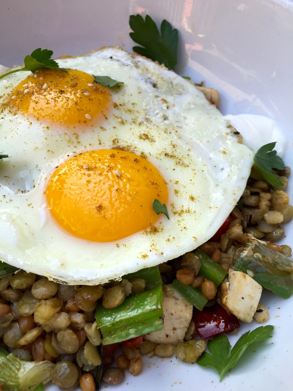 Jerusalem bowl with warm wheat berries, lentils and barley, Zahtar chicken, roasted green chiles, and two fried eggs.