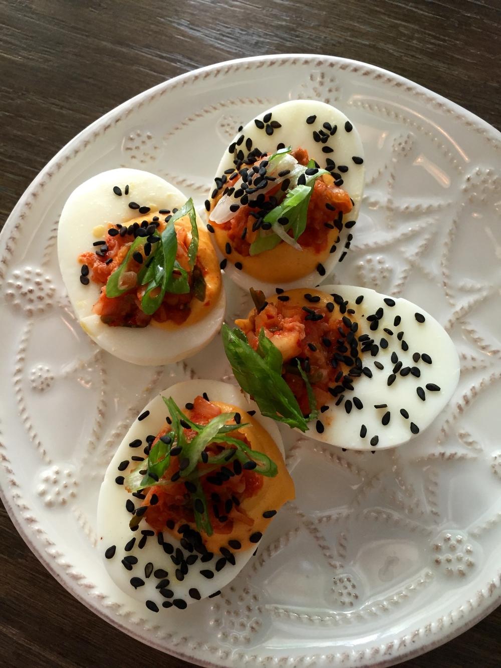 Deviled Jidori Eggs with Korean chili and kimchee.