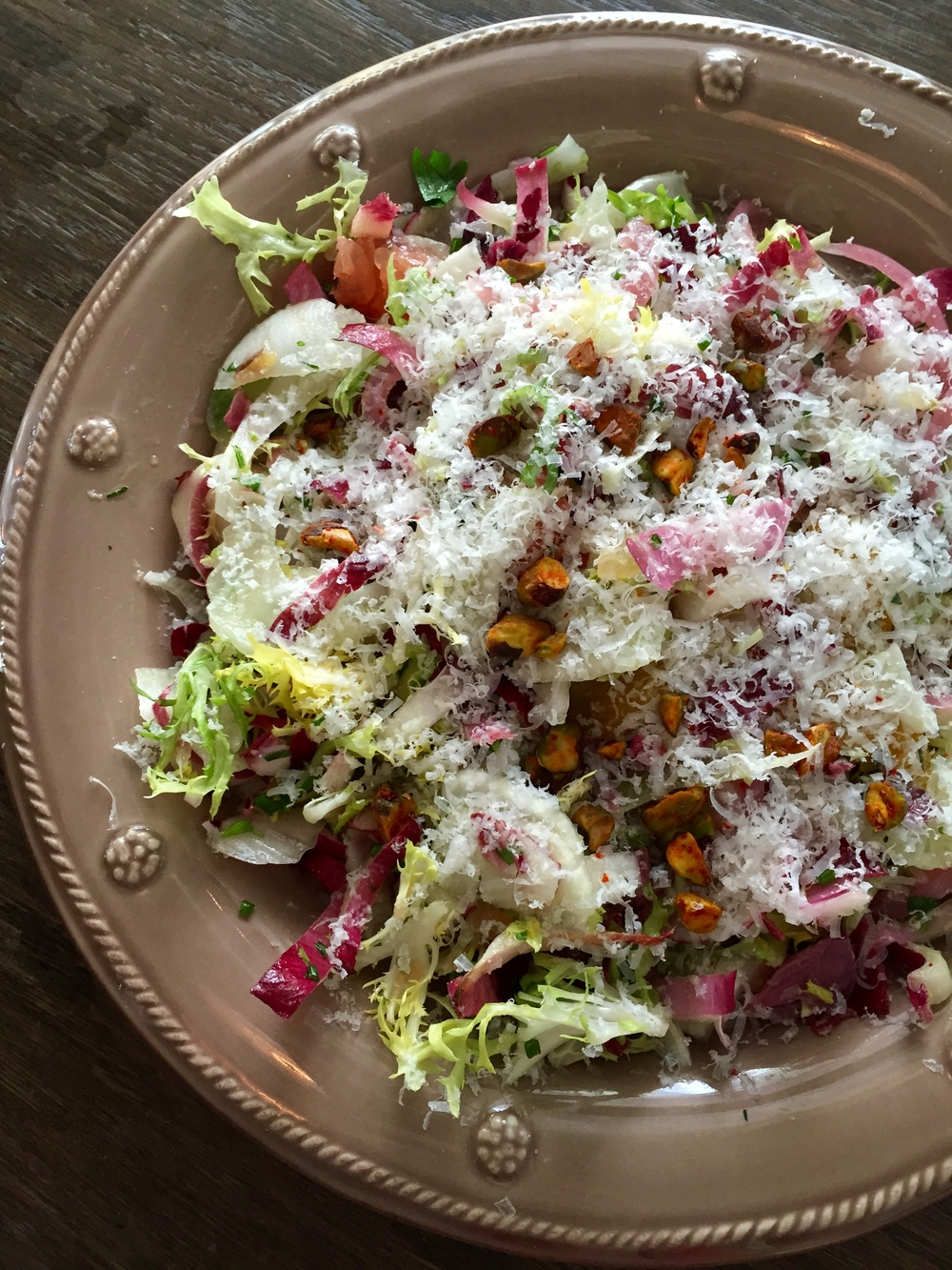 Fennel and Citrus Salad with toasted pistachios and Manchego cheese.