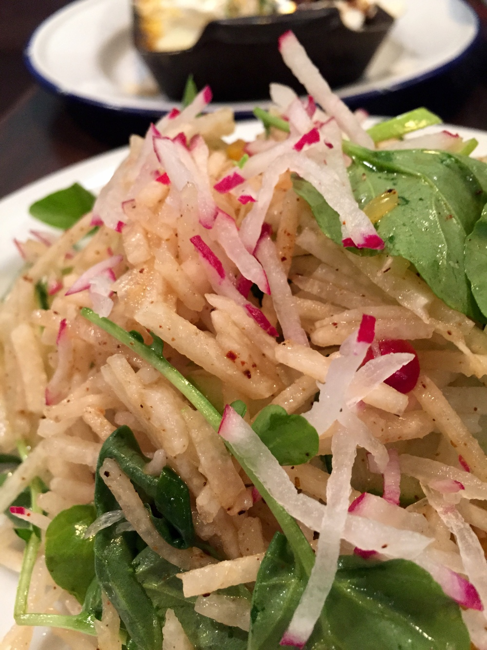 Jicama Salad with radish, pomegranate, cucumber, and p.g. spice.